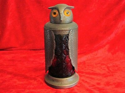Old Vintage Amber Glass and Metal Owl Decanter with Bright Amber Eyes~Unique!