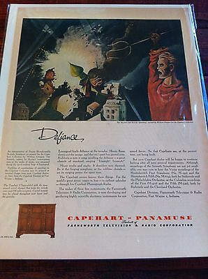 Vintage 1943 Capehart Panamuse William Gropper Jr. Art Defiance Print Art ad