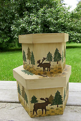 Moose Wood Storage Boxes Set Decor  Country Cottage Cabin New Mdf