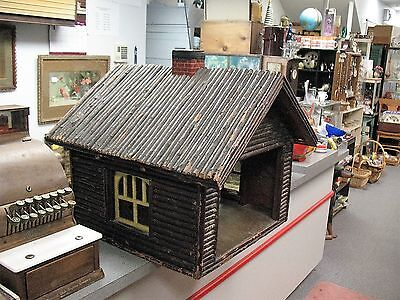 Large Old Folk Art Log Cabin With Stained Glass Windows Nice Floor & Dog House