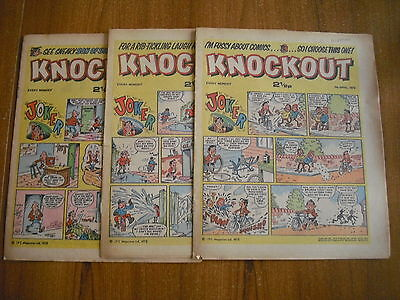 3 x KNOCKOUT COMICS FROM APRIL 1973