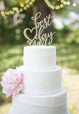 Our stunning glitter designs best day ever  Wedding cake Toppers