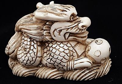 Vintage Hand Carved Figure Netsuke Okimono Sculpture Dragon