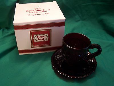 NEW Avon 1876 Cape Cod Glass CUP AND SAUCER SET - Ruby Red, w/ Original Box
