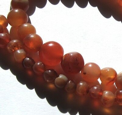 """23"""" Strand Of Rare Small Graduated Old Banded Carnelian Agate Eye Antique Beads"""