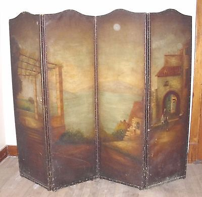 ART DECO ROMANTIC FOUR PANEL ROOM DIVIDER DRESSING SCREEN OIL ON CANVAS 1920s