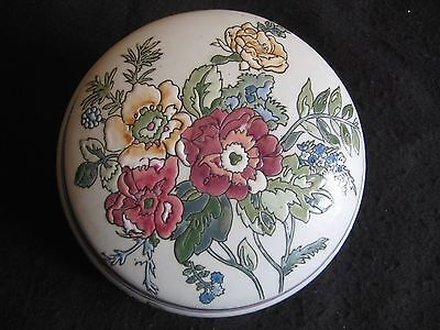 """VINTAGE CHINESE CERAMIC 6.5"""" BOWL & COVER TUBE LINED FLORAL DECORATION c.60's EX"""