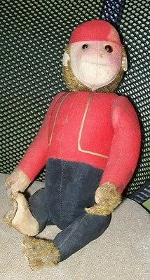 """Rare 1930 12"""" Schuco Mohair 'yes No' Bellhop Mechanical Jointed Monkey - Works!"""
