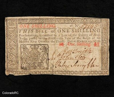 1776 One Shilling New Jersey Colonial Currency - March 25th 1776