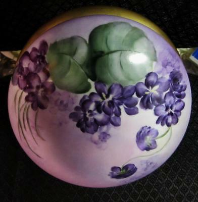 Antique T&V LIMOGES, Hand Painted Large Porcelain TRINKET DRESSER BOX w VIOLETS