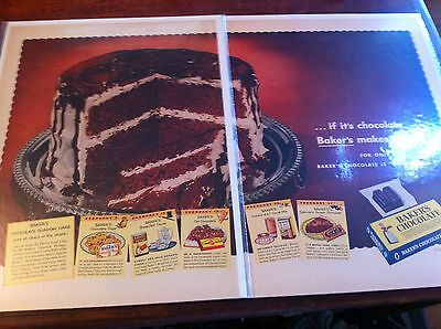 Vintage 1954 Baker's Chocolate Chocolate Shadow Cake Print Art ad