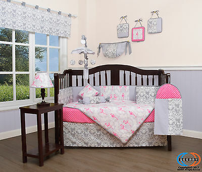 Baby Pink Flamingo Bird 13 Piece Nursery CRIB BEDDING SET
