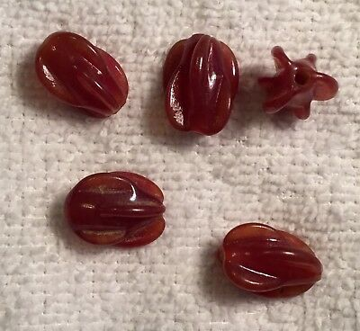 "Vintage Hand Made Japanese ""Cherry Brand"" Carnelian Glass Beads 10 Pcs  Red"