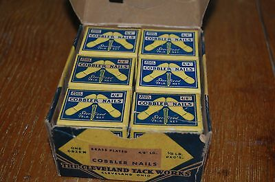 Vintage advertising Carton of 1 Dozen Boxes COBBLER NAILS shoe repair Cleveland