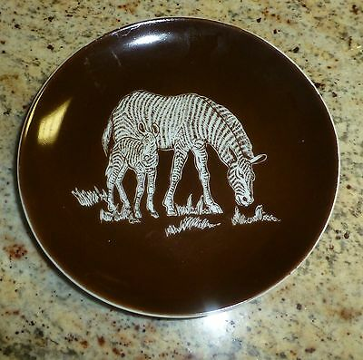 "Zebra Plate Shafford Pottery Japan Brown White Mother Baby 6 1/4"" Vintage"