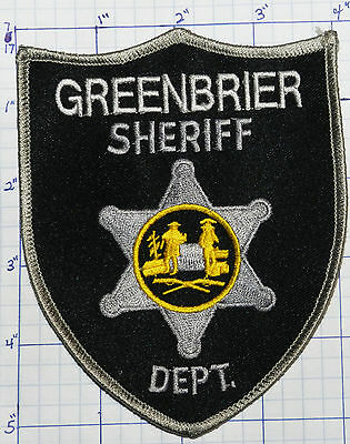 """West Virginia, Greenbrier County Sheriff Black & Gray 5.25"""" Patch"""