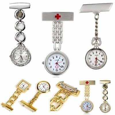 Crystal Stainless Steel Nurse Pendant Pocket Watch Brooch Fob Clip-on Quartz Pin