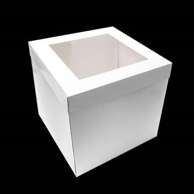 "Tall White Cake Box with Window Lid 8 10 12 14 inch 12"" High BULK"