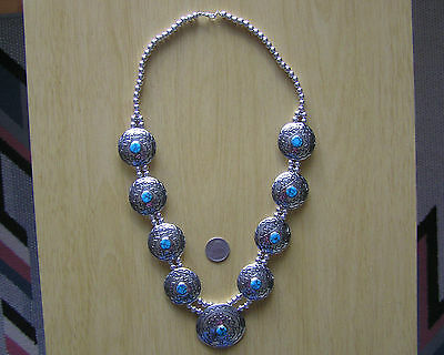 GORGEOUS Navajo Indian handmade Turquoise & Nickel Silver Squash Necklace