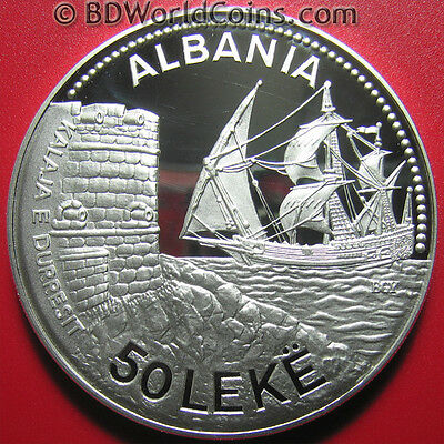 1987 ALBANIA 50 LEKE 5oz SILVER PROOF SEAPORT DURAZZO SAILING SHIP BOX+COA RARE!