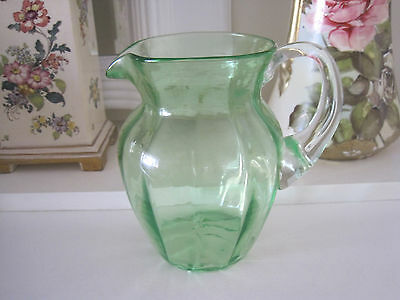 Beautiful Vintage Hand Blown Green Glass Jug