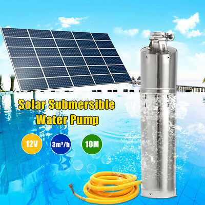 12V DC 132W Solar Submersible Water Pump Stainless Steel 3m3/hour 10M Head Deep