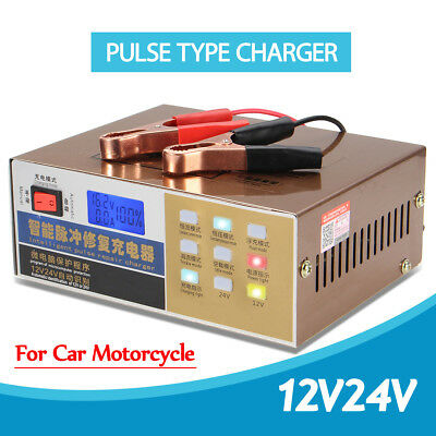 12V/24V 200AH Automatic Electric Car Battery Charger Intelligent Pulse Repair