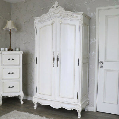 Large cream painted double wardrobe hanging rail shelves shabby French chic room
