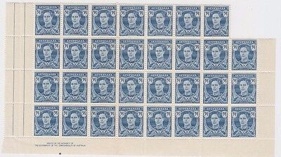 Stamps Australia 3&1/2d blue KGV1 definitive block of 31 including imprint, MUH