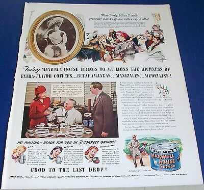 1942 Maxwell House Coffee movie star Lillian Russell Ad