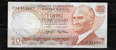 TURKEY #187a 1974 VF CIRCULATED 20 LIRE OLD BANKNOTE PAPER MONEY CURRENCY NOTE