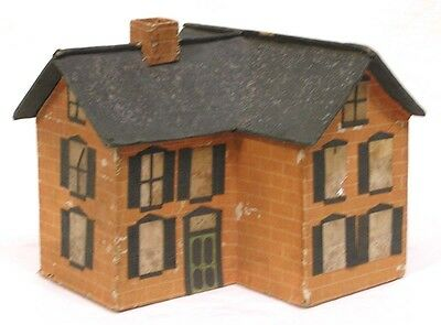 Vintage Christmas Putz House Large Stiff Paper 1930s Hand Made