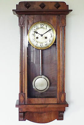 Vintage Wall Clock Wooden Case w/ Pendulum & Chime - runs sold as spares repairs