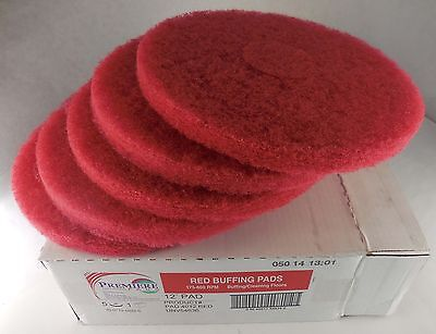 "Quantity of 5 Premiere 12"" Red Buffing Pads PAD4012RED #6gi"