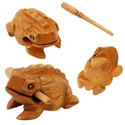 1x Wooden Croaking Frog Instrument Musical Sound Handcraft with Stick Toy Gift W