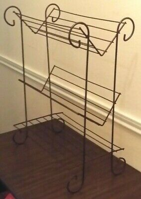 Mid Century Modern Metal Wire Standing Bookcase Holder Shelf Unit Library Shelf