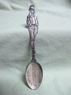 Antique Sterling Silver Souvenir Spoon Pittsburgh  Miner Handle
