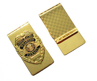 CWP CCW Concealed Weapons Carry Permit Badge MONEY CLIP Gold License Keychain