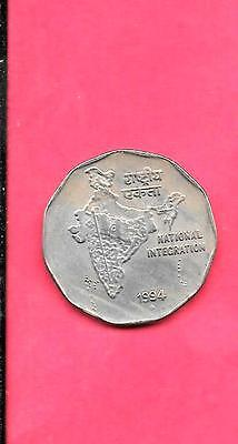 India Indian Km121.4 1994-B Vf-Very Fine-Nice Older 2 Rupees Coin