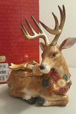 Fitz & Floyd Classics WINTER SPICE Deer With Antlers Trinket Box Candy Dish
