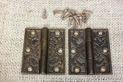 "2 interior shutter Hinges Cabinet door 1880's vintage old 2 x 1 3/4"" cast iron"