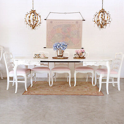 Shabby Cottage Chic Dining Table 3 Leaves French Style Vintage Furniture Roses
