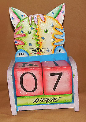"Colorfull CAT Kitty Kitten Desktop CALENDAR 7 1/2""H Sold AS IS!"