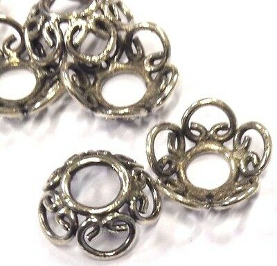 4 x Ornate 10mm Sterling Silver Oxidized Bead Caps, Sterling Silver Finding (219