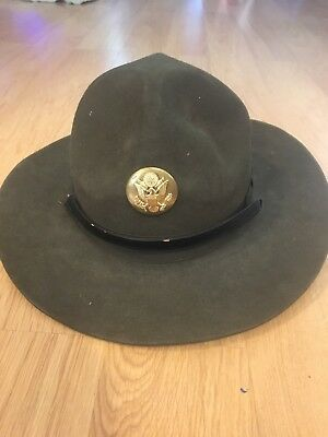 Vintage Drill Sergeant Instructors Hat with great seal of the USA pin size 7 1/8 • $30.00