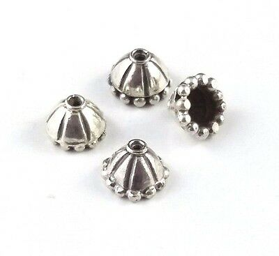 4 x Ornate Bead Caps, 4mm Sterling Silver Oxidized with an Antique Finish (211)