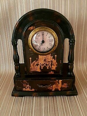 YoreVintage - Vintage Wood Oriental/Asian Style Carriage/Mantle Clock