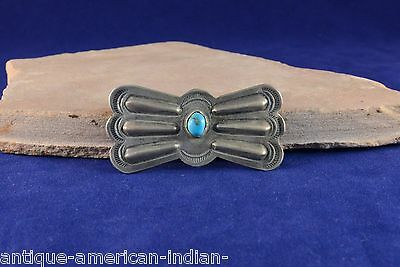 One Navajo Sterling Silver Butterfly Concho Belt Element with turquoise stone