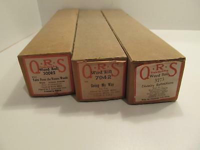 Lot of 3 Vintage Player Piano Rolls QRS Word Roll in Boxes Going My Way ++