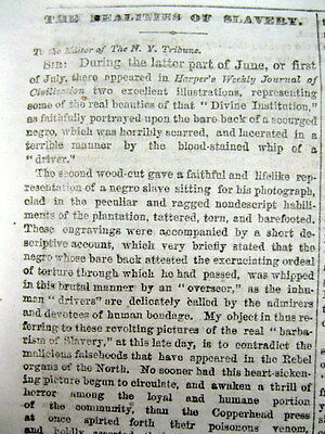 <1863 NY Civil War newspaper w long editorial on SCOURGE OF CONFEDERATE SLAVERY